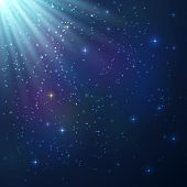 Bright blue and violet shining cosmic vector background poster