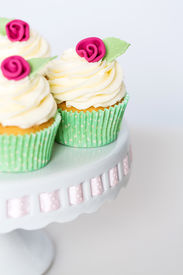 Floral Cupcakes On A Cakestand