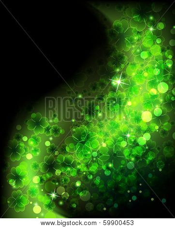 Magic Four Leaf Clover Background