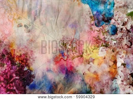 floral painting on grunge paper texture - mixed technique