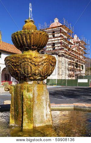 Fountain White Adobe Mission Santa Barbara Construction California