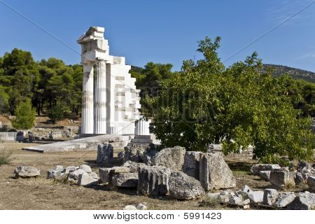 Asklipios temple at Epidaurus at Peloponissos, Greece poster