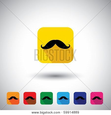 Flat Design Vector Icon - Black Mustache Symbol Of Manliness.