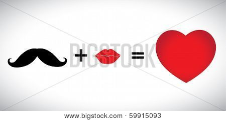 Concept Vector Of Hearts - Mustache & Lips Icons Together Is Love