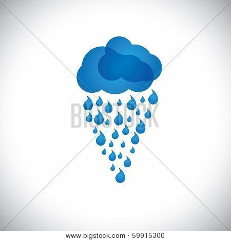 Blue Clouds & Rain Vector Icon, Sign Or Symbol On White Background.
