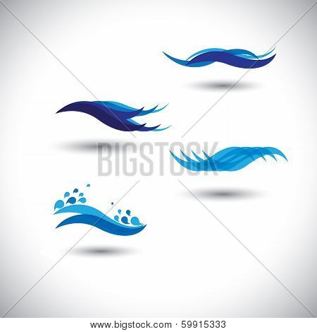 Water Concept Vector - Set Of Flowing Blue Wave Lines