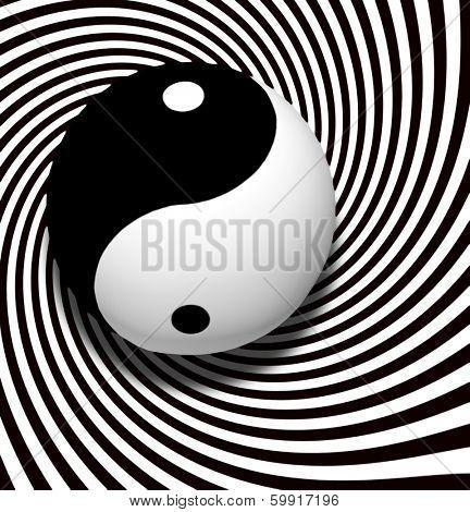 Yin Yang Symbol With Spiral poster