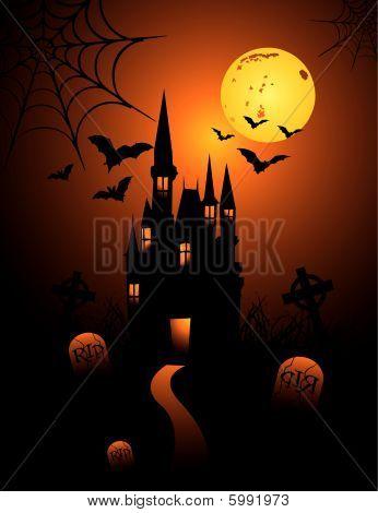Halloween achtervolgd kasteel vector