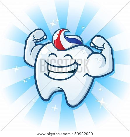 A powerful muscle man molar cartoon character with tooth paste for hair, flexing his muscles! poster