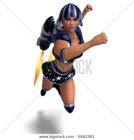 Female Super Hero In Black And Blue Outfit