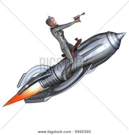 3D rendering of a silver pin-up girl riding on a retro rocket with clipping path and shadow over white poster