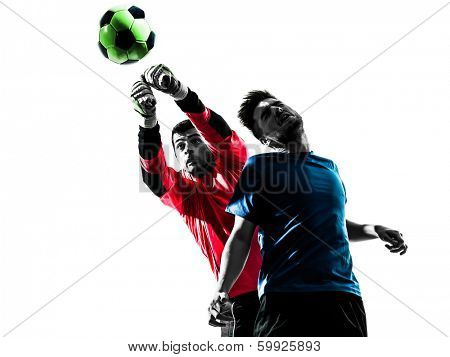 two caucasian soccer player goalkeeper men punching heading ball competition in silhouette isolated white background poster