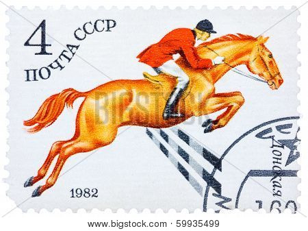 Stamp Printed In Ussr Shows A Donskaya Horse, Series Horse Breed In A Equestrian Sport
