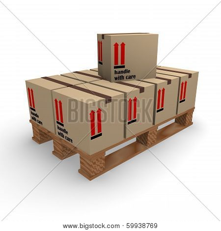 Wooden pallet with cardboard boxes on a white background, 3d rendering