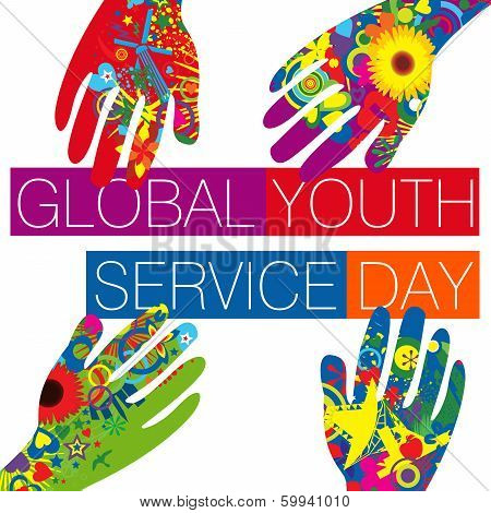 Global Youth Service Day surrounded by colorful hands poster