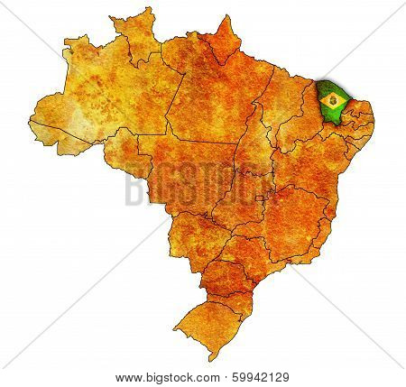 ceara on admistration map of brazil with flags poster
