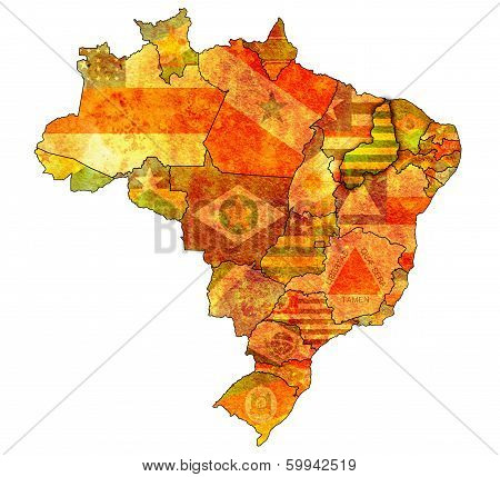 piaui on admistration map of brazil with flags poster
