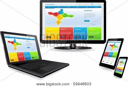 Responsive website template on multiple devices:laptop pc tablet Smart phone poster