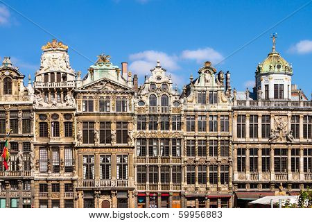 Ornate buildings of Grand Place Brussels Belgium poster