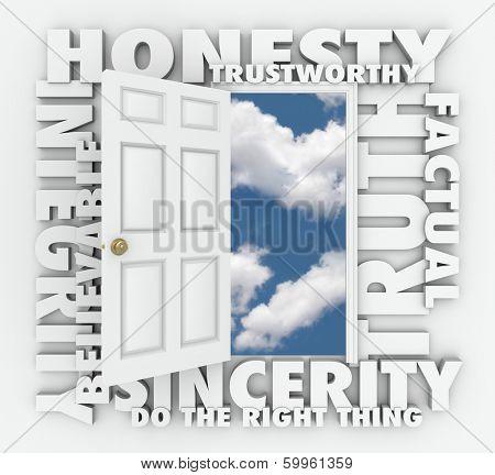 Honesty Integrity Reputation Truth Sincerity Word Door poster