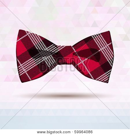 Vector Illustration of  Red Tartan bow-tie. This is file of EPS10 format. poster