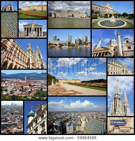 Photo collage from Vienna Austria. Collage includes major landmarks like the cathedral City Hall museums and palaces. poster