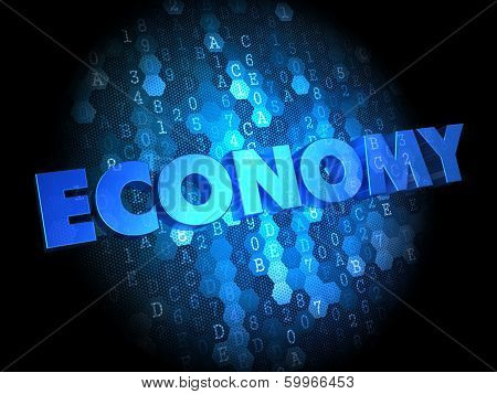 Economy - Blue Color Text on Dark Digital Background. poster
