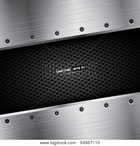 Metal background with carbon pattern and steel frame