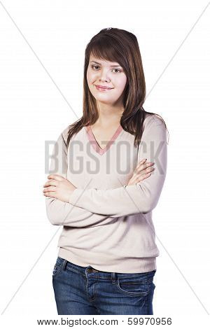Smiling Caucasian Young Woman Isolated