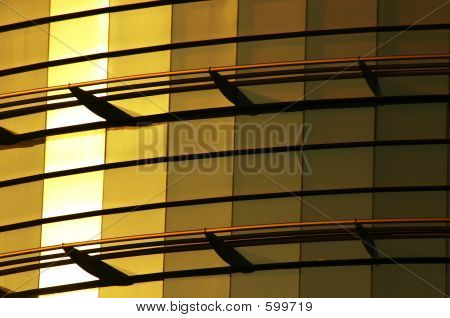 Modern Office Building Of Glass Gold