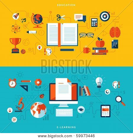Flat design vector illustration concepts of education and online learning