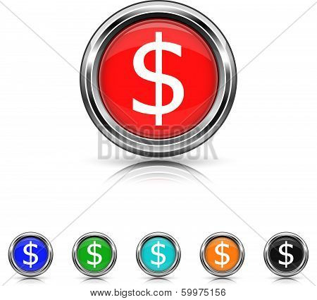 Dollar Icon - Six Colors Vector Set