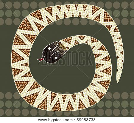 A Illustration Based On Aboriginal Style Of Dot Painting Depicting Black-headed Python