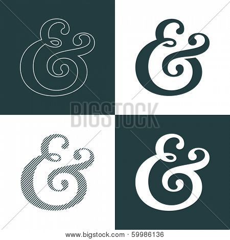 Custom decoration ampersand. This typographic symbol can used as the decorative element for wedding invitations and cards. Vector illustration
