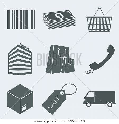 Vector illustration of icons on a theme of trade