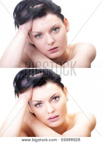 Woman portrait before and after computer retouching on white poster