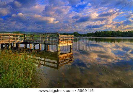 Shawnee Lake Pier Sunrise Reflections