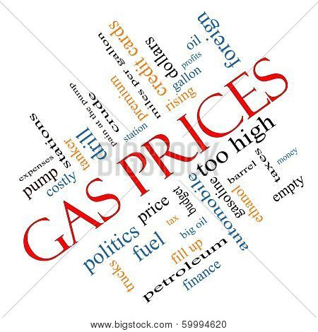 Gas Prices Word Cloud Concept angled with great terms such as automobile pump costly gallon price and more. poster