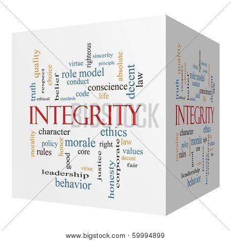 Integrity 3D cube Word Cloud Concept with great terms such as virtue code conduct and more. poster