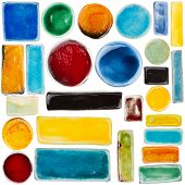 Big size set of handmade glazed ceramic elements isolated on white poster