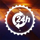 Service 24h Concept. Retro label design. Hipster background made of triangles, color flow effect. poster