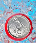 Details of Soda can in ice and drops poster