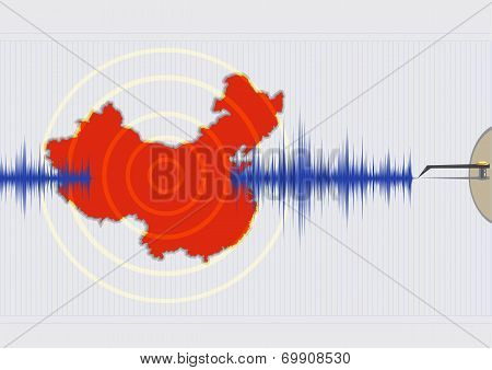 China Earthquake Concept Illustration