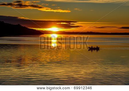 Sunset On Villarrica's Lake From Pucon's Beach, Chile