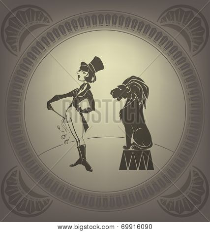 Young circus artist perform tamer trick. Flapper style. Art Deco poster