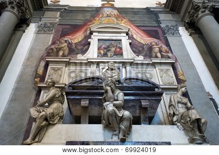Michelangelo's Tomb In The Basilica Of Santa Croce, Florence