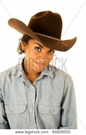 Attractive Tan Girl Wearing Denim Shirt And A Cowboy Hat