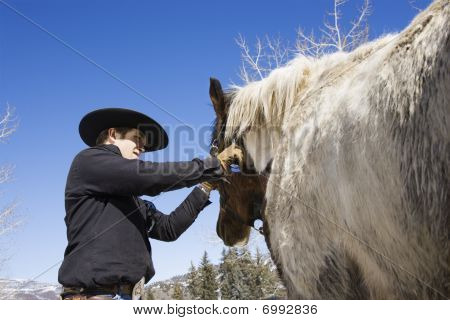 Attractive Young Man Grooming Horse