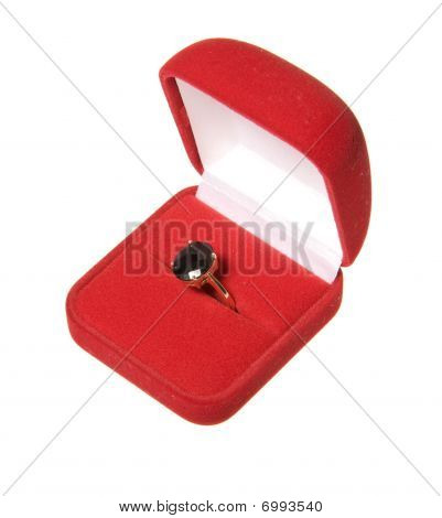 Garnet Ring In Red Box Isolated On White Background