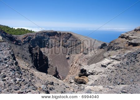 Crater of Hoya Negro volcano at La Palma Spain. Erupted in 1949. poster